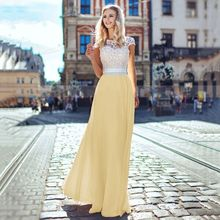 2019 summer new fashion lace stitching short-sleeved sexy backless chiffon maxi dress party
