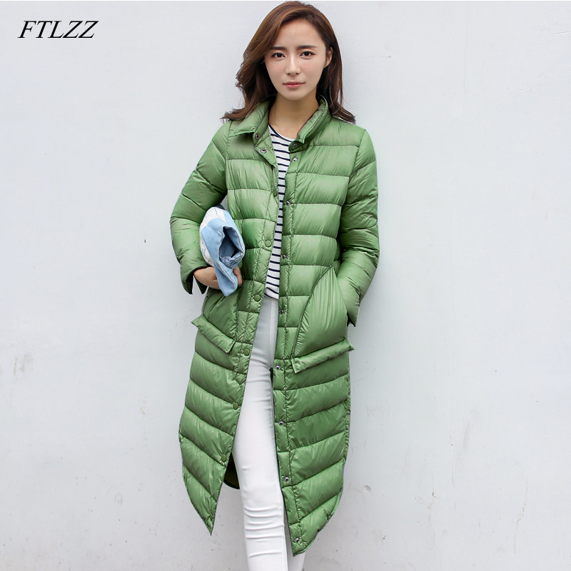 FTLZZ Winter Ultra Light   Down   Long Jacket Women   Coats   Black Overcoat Warm 90% Duck   Down   Padded Jackets Female   Down   Parkas