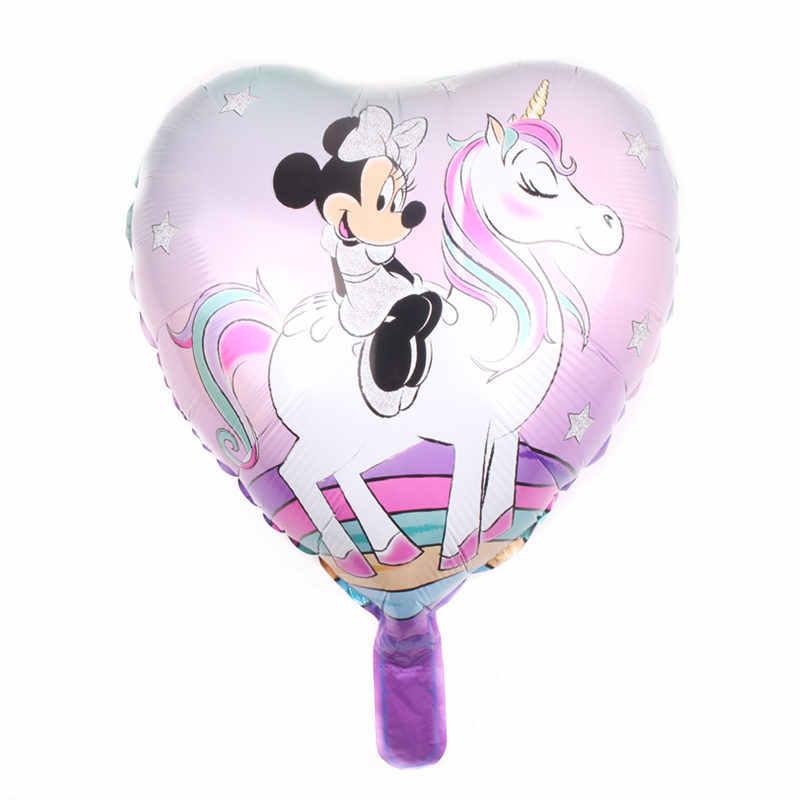 XXPWJ Yeni 18-inç kalp şeklinde binicilik Minnie tarzı alüminyum balon balonlar çocuk tatil parti dekore edilmiş C-030
