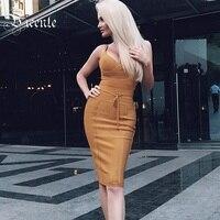 2017 New Free Shipping Chic Elegant Ginger Sexy V Neck Sleeveless With Belt Party Celebrity Women