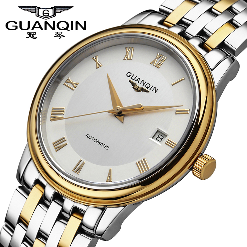 Mens Watches Top Brand Luxury GUANQIN Automatic Self-Wind Mechanical Watch Sapphire Casual Men Calendar Watch Relogio Masculino mce automatic watches luxury brand mens stainless steel self wind skeleton mechanical watch fashion casual wrist watches for men