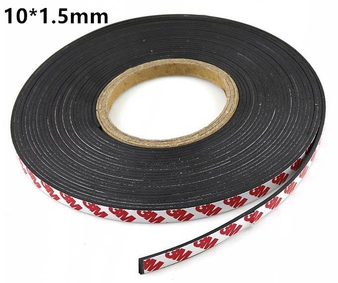 10 metro Magnete di Gomma 10*1.5 millimetri autoadesiva Flessibile Striscia Magnetica Magnete di Gomma larghezza del Nastro 10mm di spessore 1.5mm