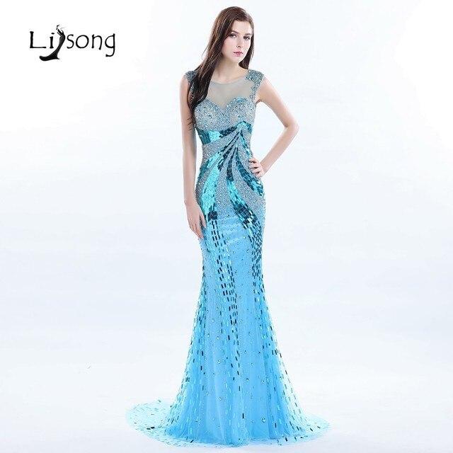 Hot Sea Blue Beaded Long Evening Dress Mermaid Women Formal Gowns ...