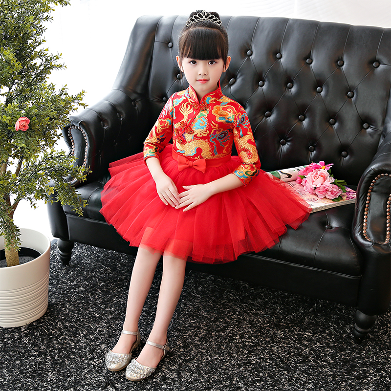 Flower girl dress for wedding pageant formal child modern qipao cheongsam dress ball gown prom chinese traditional costume hanfu