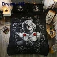 Dreamns ارتفع الأسود الجمجمة أنيقة مارلين مونرو الفراش الولايات الملك ملكة كامل أغطية السرير أغطية التوأم الربيع/ورقة السرير مجموعة