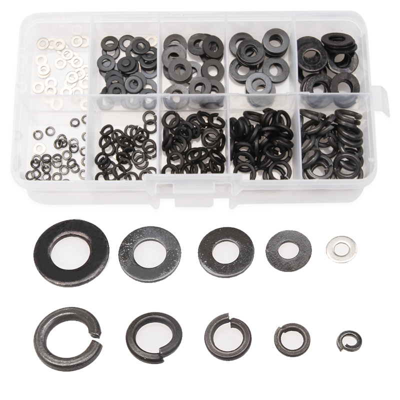 280PCS Black Stainless Steel Washers & Zinc plated Spring Pads Set M2M3/M4/M5/M6 Durable Tool Accessories For Metalworking Kit 50 pieces metric m4 zinc plated steel countersunk washers 4 x 2 x13 8mm