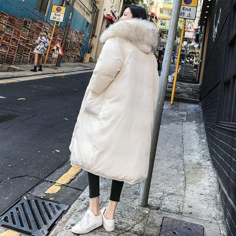 Lâche Rembourré Long Le Femme Mode Bas Fourrure Col Coton 2018 ardoisé Nouvelles Faux Manteaux Chaud Femmes Vers Vestes Beige Parkas De Épaissir D'hiver Outwear A87 CedxrBo