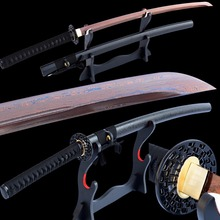 Brandon Swords Damascus Katana Folded Steel Electropalted Red Blade Sharp UnokubiZukuri Japanese Samurai Sword Full Tang Can Cut