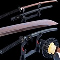 Brandon Zwaarden Damascus Katana Gevouwen Staal Electropalted Red Blade Sharp UnokubiZukuri Japanse Samurai Zwaard Volledige Tang Kan Cut