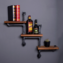 Solid Retro Wood Shelf Vintage Water Pipe Bookcase Wooden Wall Bathroom Shelves Industrial Pipe Vintage Storage Holders Racks industrial wallshelf rustic modern wood ladder pipe wall shelf 6 layer pipe design bookshelf diy shelving