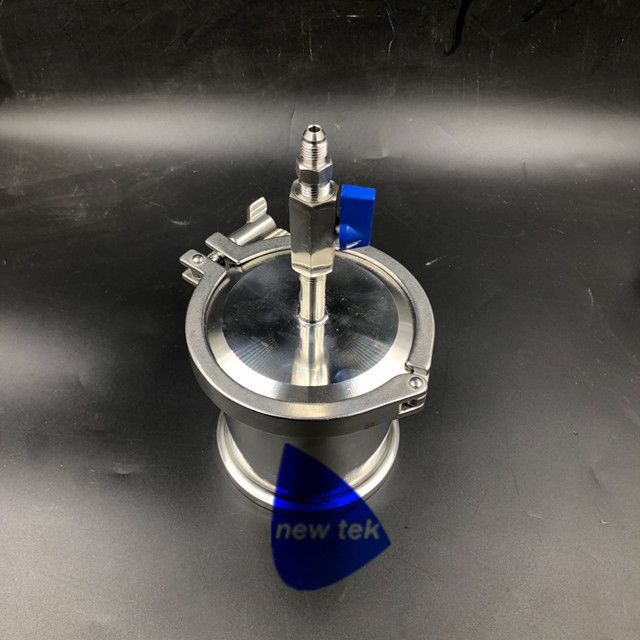 90g 135g Extractor Solvent Recovery Tank w Ball Valve and 37 Degree JIC Adapter Stainless Steel