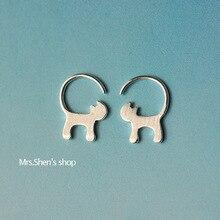 925 Sterling Silver Cute Cat Earrings for Women Girl Lovely Kitty Tud Earrings Hypoallergenic Jewelry