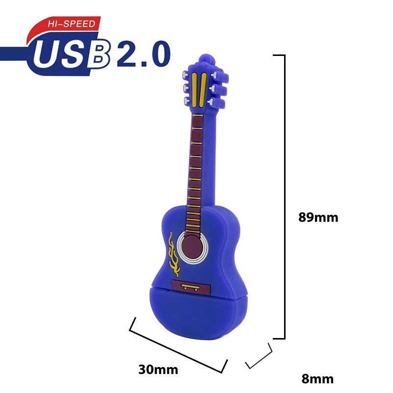 Миниатюрная мини-флешка в виде гитары 32 ГБ реальная емкость USB флешка 64 Гб 128 Мб карта памяти Силиконовый мультяшный флеш-накопитель