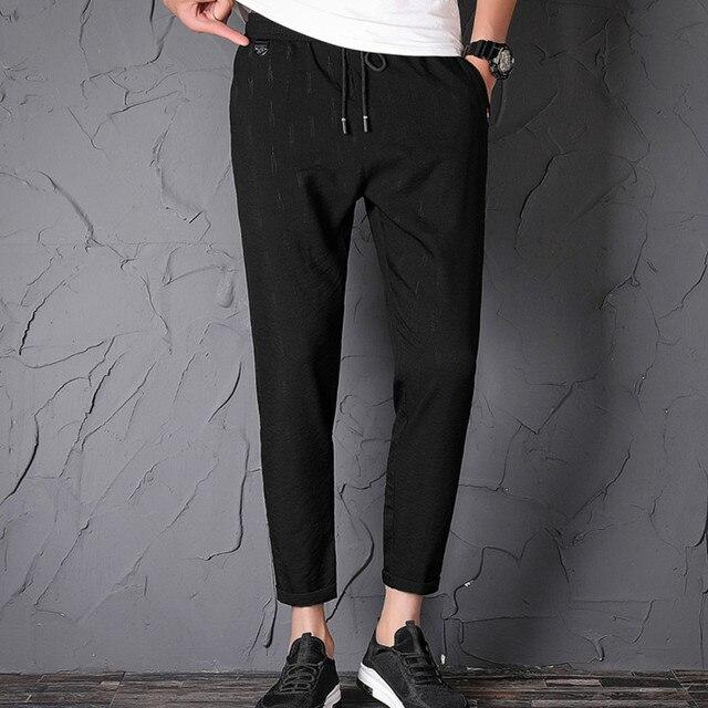 EL BARCO 2018 New Cotton Men Sweatpants Autumn Black Male Pencil Pants Casual Joggers Soft Breathable Long Trousers Pockets 1