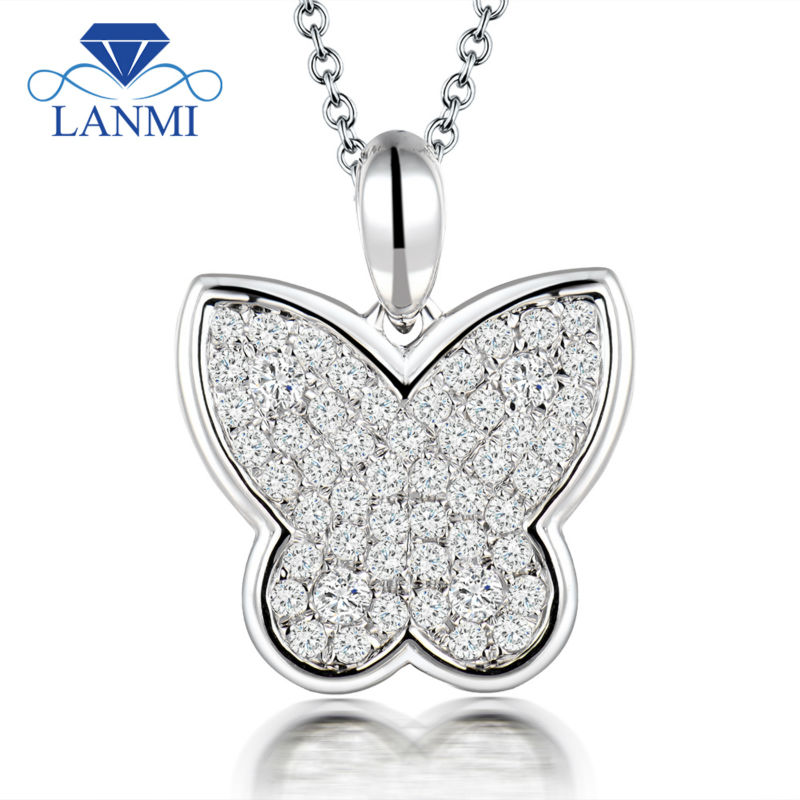 Butterfly shape 18k white gold diamond pendant si clarity g h color style diamond pendant without chain 31 aloadofball Images