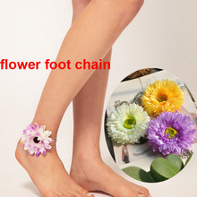 2014 spring summer jewelry fashion alloy chain fabric flower charm women's foot chain anklets Mother's Day gift