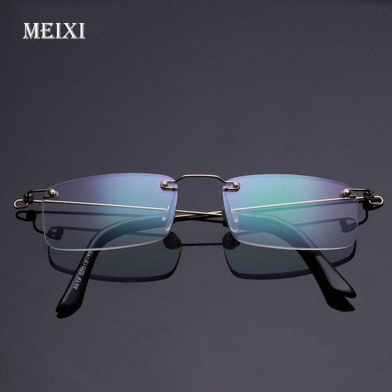 b5b84f3d8578e Rimless Memory Metal Frame Aspherical Resin Ultralight Hmc Coating Reading  Glasses Women Men Eyewear +1.0 1.5 2 2.5 3 3.5 4