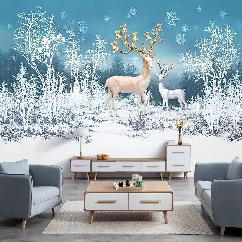 Photo Wallpaper Modern 3D Forest Deer Snow Landscape ...