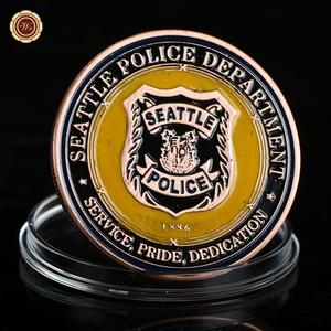 WR Seattle Police Department Цветная монета, домашняя декоративная металлическая монета Saint Philosophy Bronze Challenge Coin