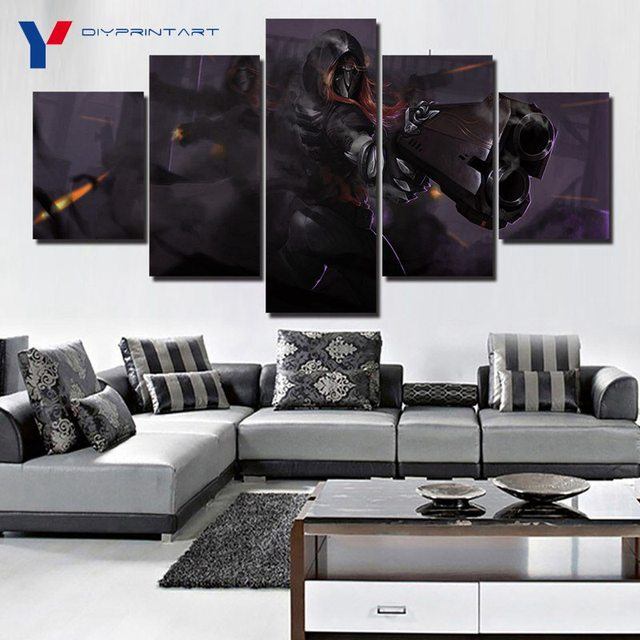 Overwatch Reaper 5 Panels Canvas Art Game Poster Canvas Pictures for Living Room A0369 2