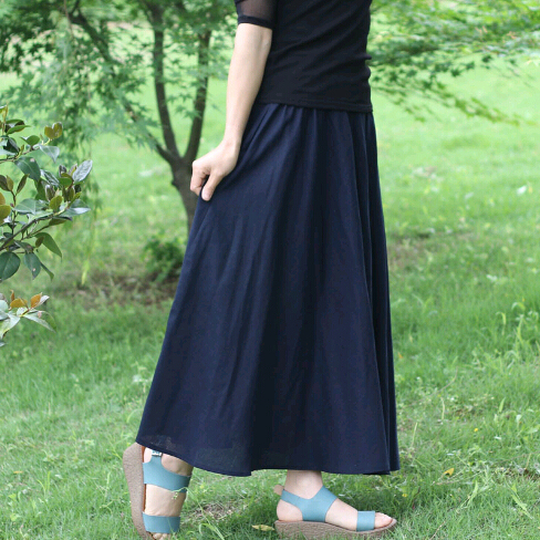 Beand Summer 10 Colors Cotton Linen Pleated Casual Long Skirt Plus Size Solid Bohemian Beach Maxi Skirts Women Saia Longa