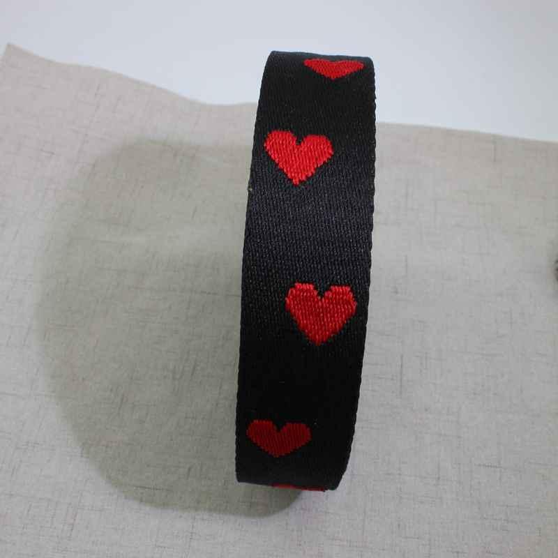 10 ярдов 38 мм 50 мм широкие черные красные сердца акриловые хлопковые ленты для модных ремней ремень, шитье женские сумки кошелек на ремне