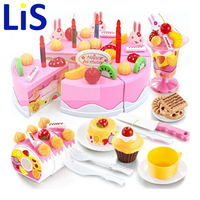 75 Pcs Classic Toys Pretend Play Kitchen Toys Pink Blue Cake Toy For Kids Toys For