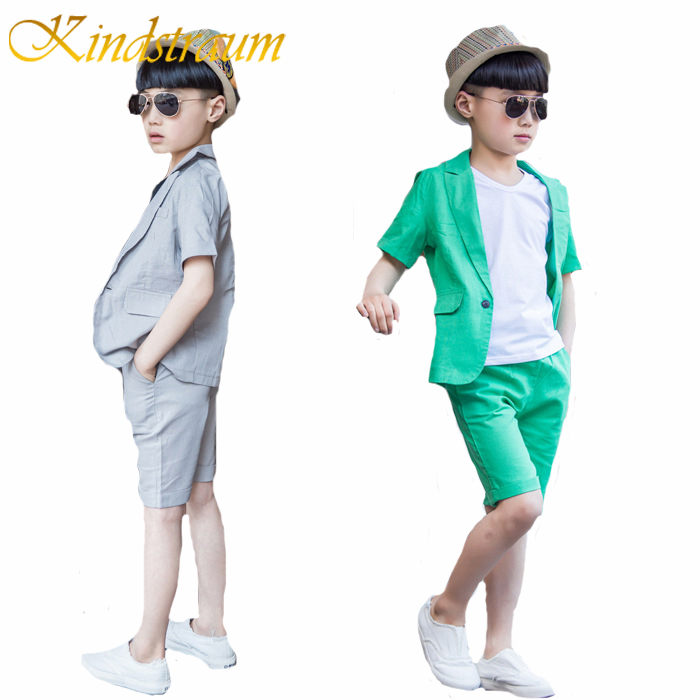 Kindstraum 2017 New Fashion Boys Formal Suits Summer 2pcs Short Sleeve Blazer+Shorts Children Kids Wedding Clothing Sets, MC704