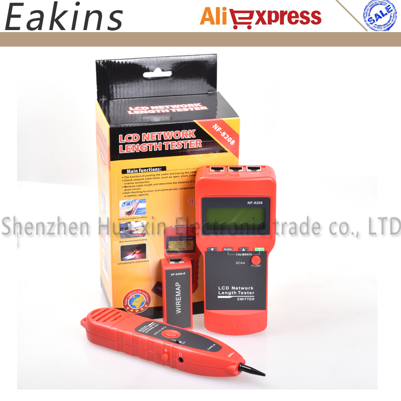NF-8208 Ethernet LAN Network Cable Tester Detector Inspection Cat5e Cat6e RJ45 Wire Tracker Diagnose Tone Tracer Length Tester цены онлайн