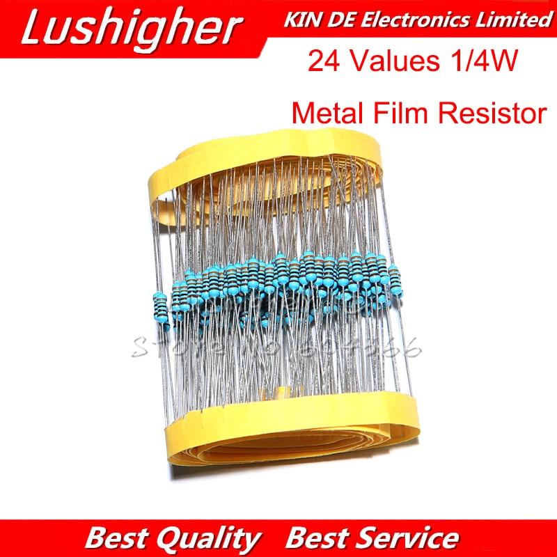 24valuesX10pcs 240pcs 1/4W 0.25W 1% 4.7k-68k Metal Film Resistor Component Diy Kit Package New Original
