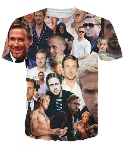 Camiseta Unisex de Moda Nuevas Mujeres 3D Hombres Camisetas Paparazzi Camiseta sexy actor Estadounidense Ryan Gosling tes de las Tapas