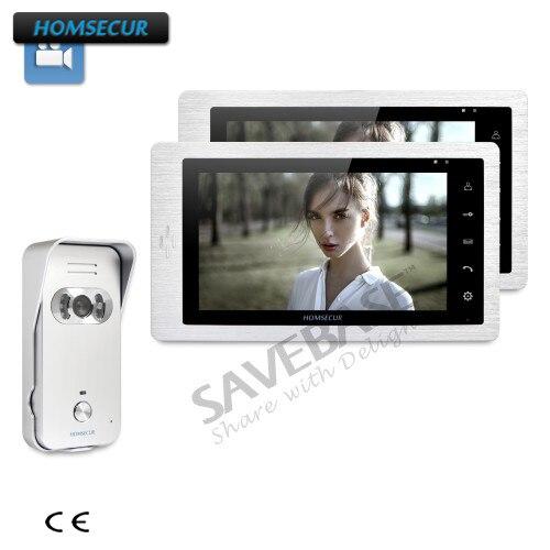 HOMSECUR проводной 7-дюймовый видео и аудио домофон + IR Ночное видение для дома/без каблука + 1 Камера + 2 мониторы ...