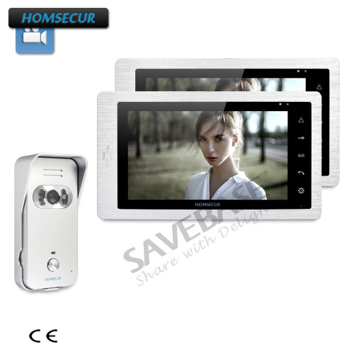 HOMSECUR Wired 7inch Video&Audio Intercom+IR Night Vision For House/Flat + 1 Camera + 2 Monitors
