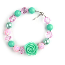 St. Patrick Day New Fashion Green and Pink color Bead Necklace with Green Color Resin Flower