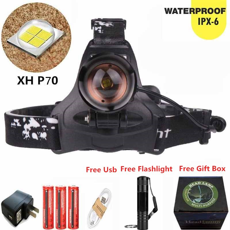 Zoomable LED XHP70 Super Bright Headlamp Headlight USB Chargeable Torch 3x18650