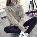 2015 Winter fall fashion warm vintage solid crochet turtleneck coarse wool loose plus size women clothing knitted sweater