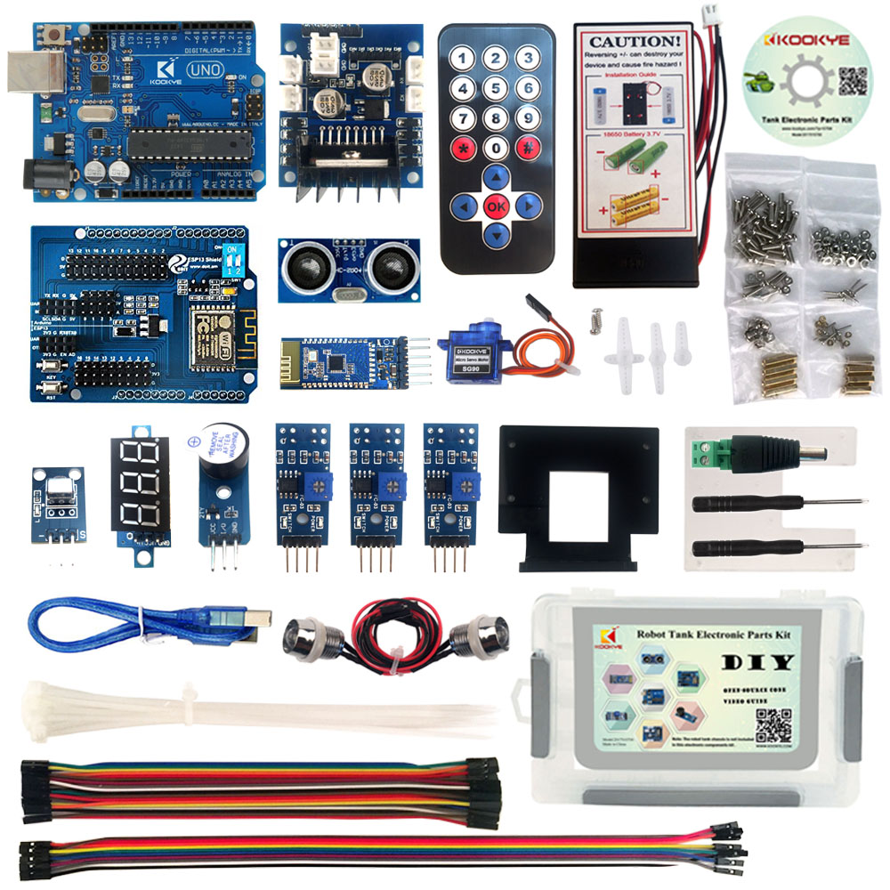 KOOKYE Robot voiture électronique pièces Kit avec CD tutoriel pour réservoir châssis plate forme Arduino bricolage-in Carte de démonstration from Ordinateur et bureautique on AliExpress - 11.11_Double 11_Singles' Day 1