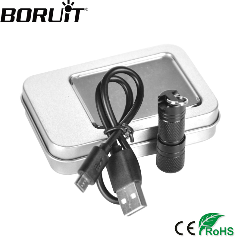 BORUiT Aluminium Alloy 300LM XPE LED Mini Senter USB Isi Ulang Portabel Tahan Air Cahaya Keychain Torch dengan Box