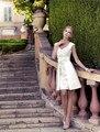 Elegante diseño de la noche blanca! Sexy cuello en v cap mangas appliques del cordón del vestido por encargo del A-line vestidos satinado vestido de noche