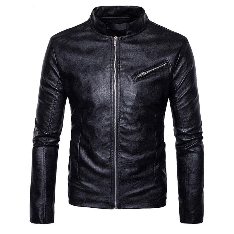 Men's Autumn Winter Leather Jacket Coat Veste Cuir Homme 2017 New Zipper Motorcycle PU Leahter Jacket Motocicleta Chaqueta Cuero