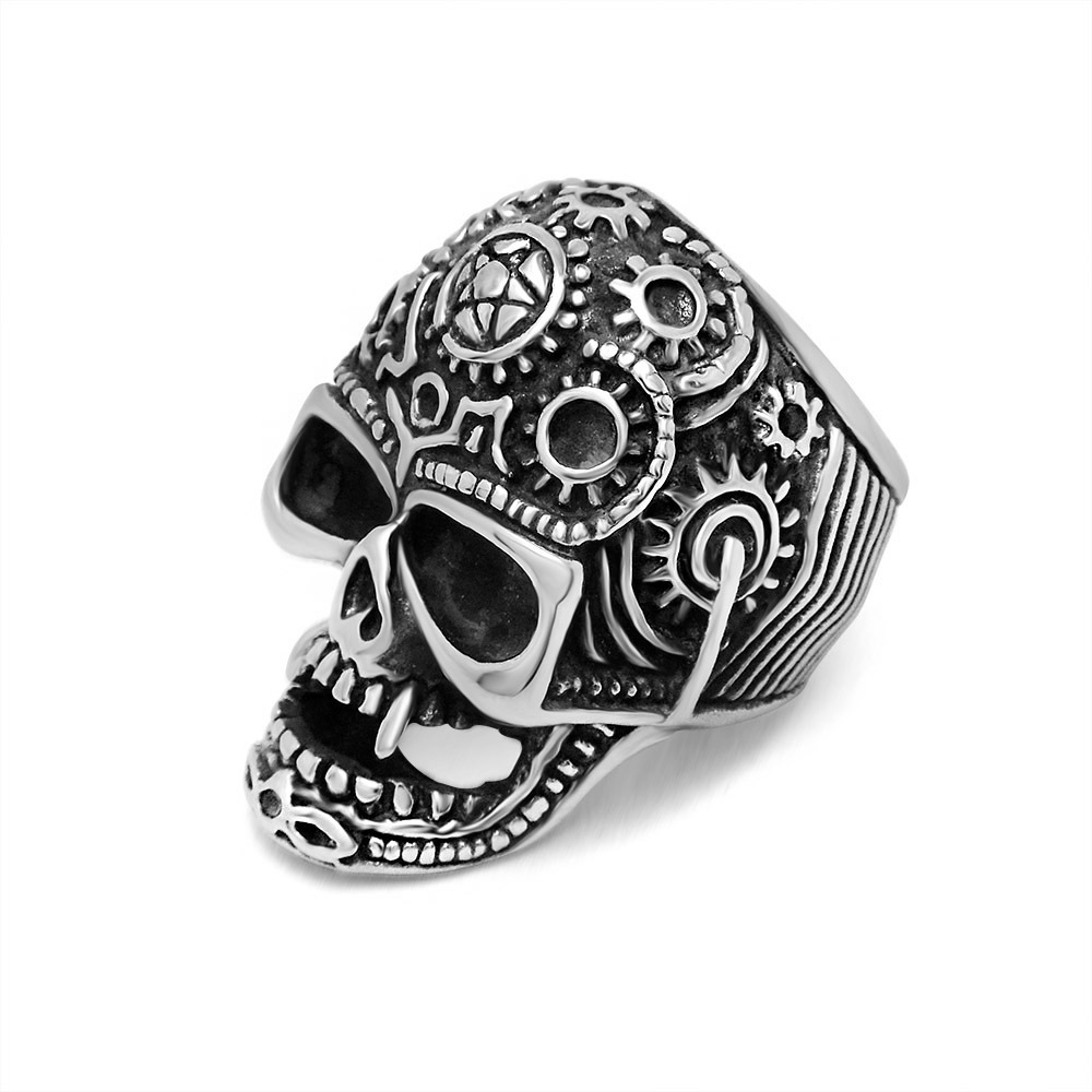 Vampire men titanium steel ring punk style skull rings for Vintage style fashion rings