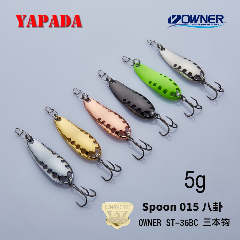 YAPADA Spoon 015 Gossip 5g 7 5g OWNER Treble HOOK Multicolor 37 45mm Metal Zinc alloy Spoon Fishing Lures Bass in Fishing Lures from Sports Entertainment