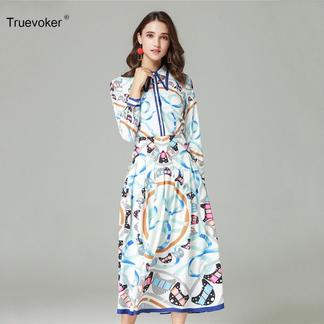 Truevoker Autumn Designer Set Suit Women s Elegant Full Sleeve Beading Collar  Printed Blouse + Mid Calf 382cffb50315