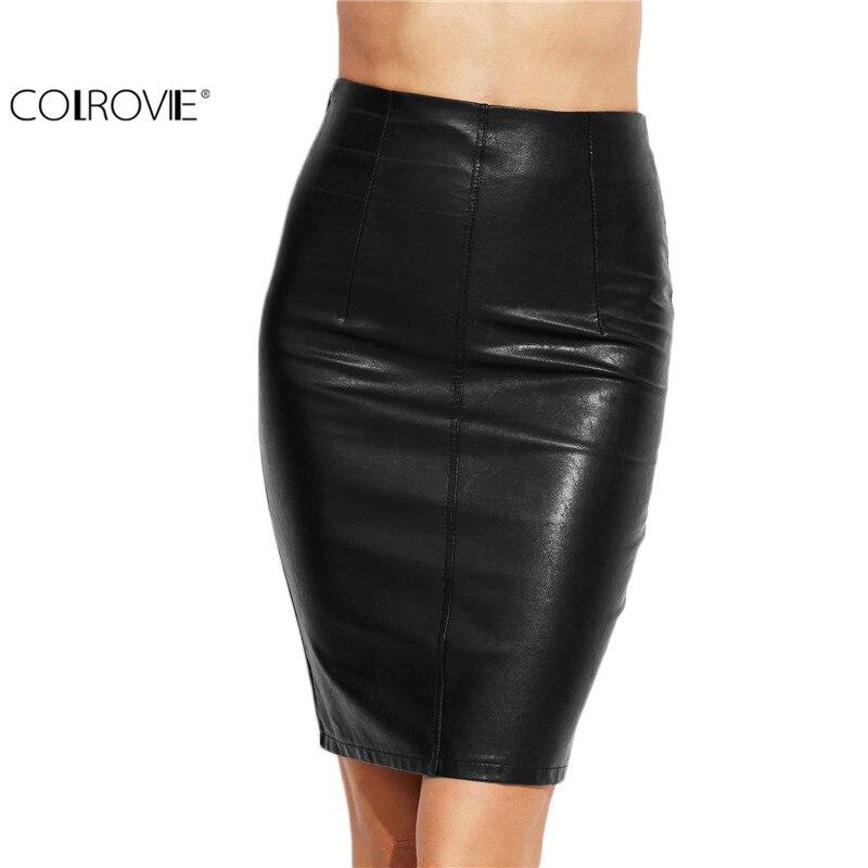 COLROVIE PU Leather Bodycon Women Skirts 2017 Female Sexy Clothing Autumn Winter Punk High Street Stylish Black Midi Skirt