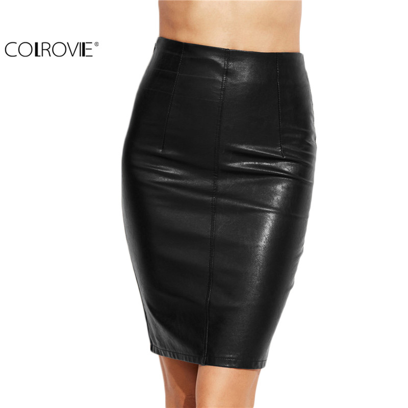 COLROVIE PU Leather Bodycon Woman Skirts 2017 Female Sexy Clothing Autumn Winter Punk High Street Stylish Black Midi Skirt