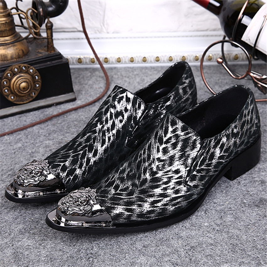 Leopard Print Men Business Leather Shoes Metal Pointed Toe Wedding Dress Shoe Slip On Creepers Mens Flats Oxfords Pluse Size fashion pointed toe men rhinestone oxfords business wedding leather shoes mens slip on flats prom dress oxford shoe creepers