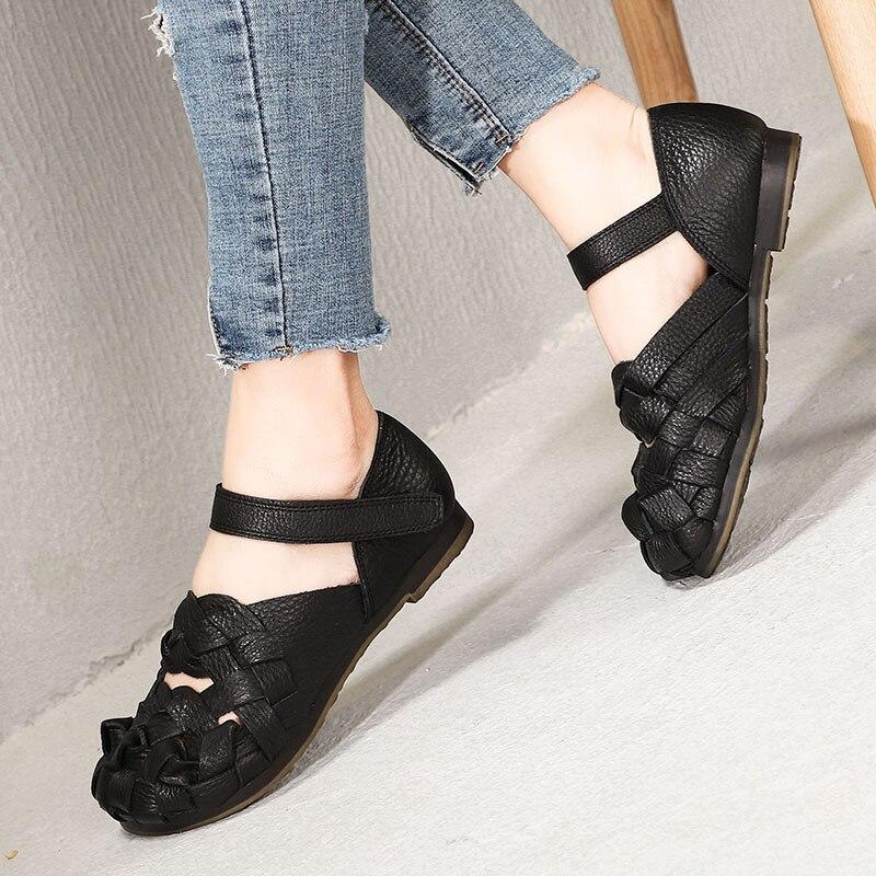 2019 ฤดูใบไม้ผลิใหม่มาถึงผู้หญิงหนังแบนรองเท้าข้อเท้า Handmade ทอรองเท้านิ้วเท้า Vintage Ladies Flats-ใน รองเท้าส้นเตี้ยสตรี จาก รองเท้า บน   3