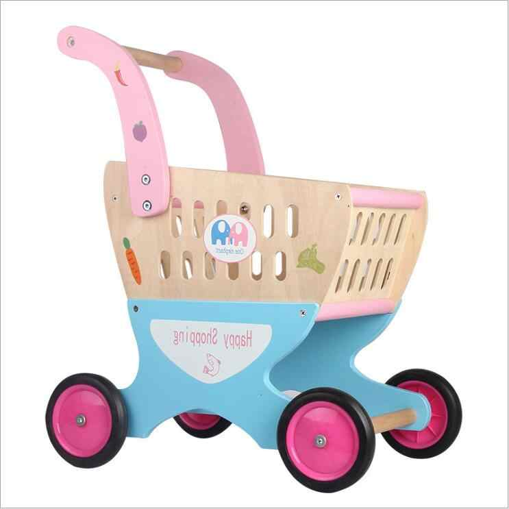 Pretend Play Toys Real Life Shopping Trolley Toy Childrens Shopping Cart Wooden Grocery Shopping Childrens Toy For Children