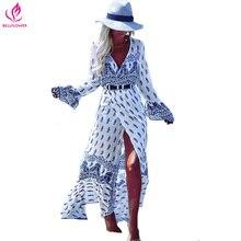 Boho Платье Женщины Цветочный Печати Длинные Flare Рукавом Платье Femme праздник V Шеи Сексуальное Платье Чешские Свободные Пляж Макси Платье свадебные платья
