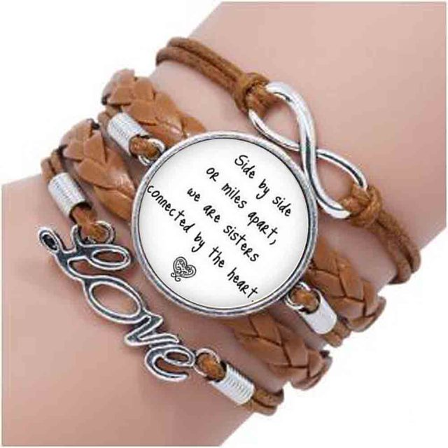 Bronze Quote Long Distance Sister Bracelet I Love My Side By